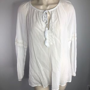 LANE BRYANT white soft tie front blouse/top 14/16